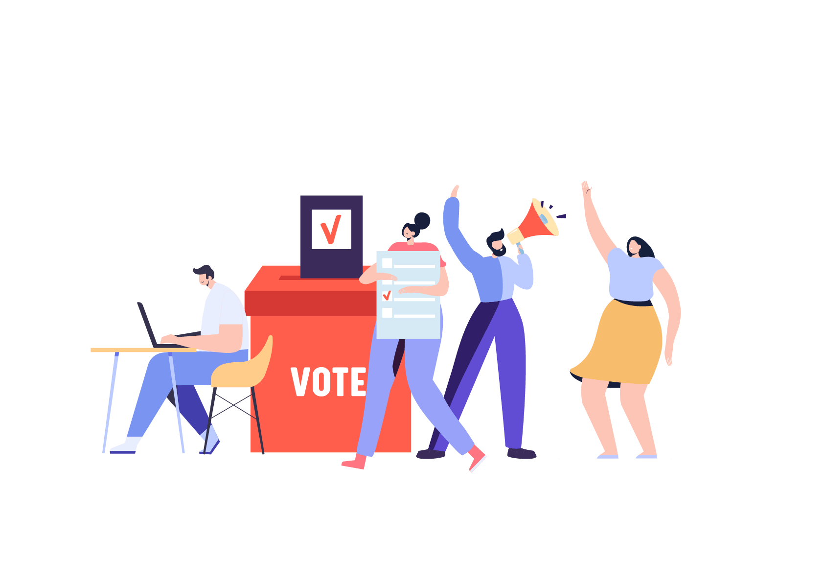 Dessin de personnages qui votent